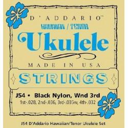 J54 Ukulélé Tenor - Hawaï nylon noir