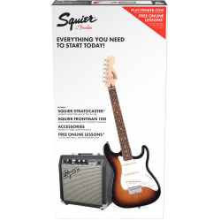 Squier Strat® SS Pack, Rosewood Fingerboard, Brown Sunburst