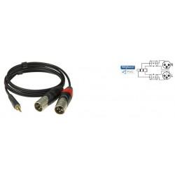 AY9A0300 - Cable Y Mini Jack 90°/2x XLR Mâle - Or - 3 mètres
