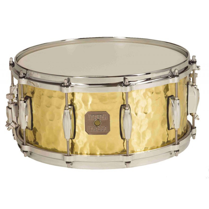 "Gretsch Hammered Polished Brass 14"" x 6.5"" - Cuivre Jaune Martelé"