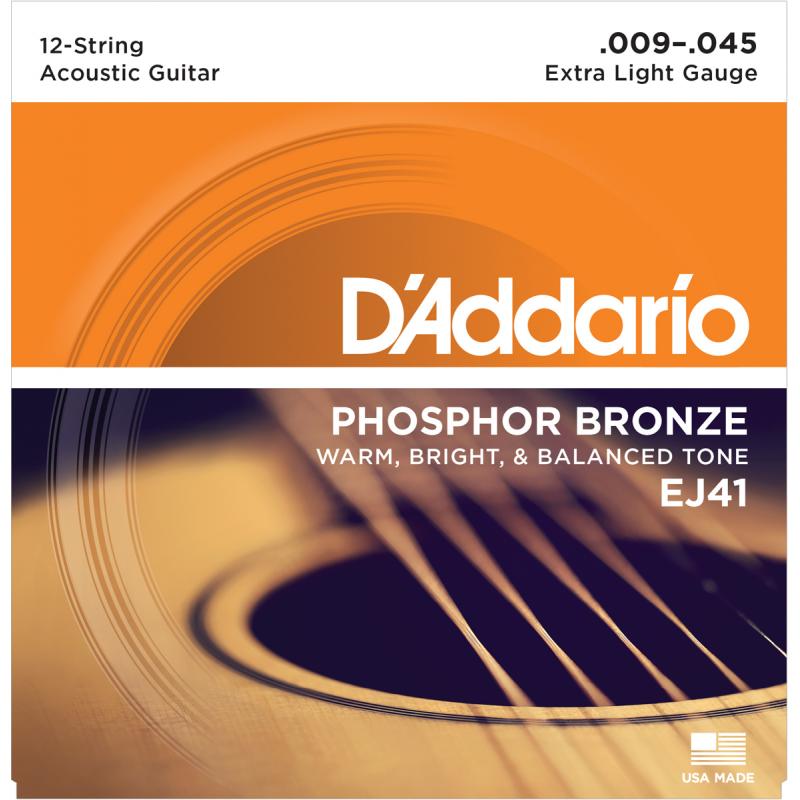 D'addario EJ41 Extra Light 12 Cordes 9-45