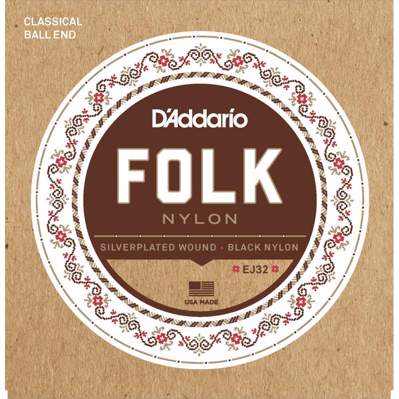 D'addario EJ32 Folk Nylon - Tirant Normal - Noir-Plaqué Argent