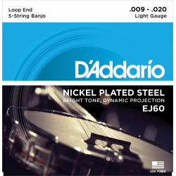 D'addario EJ60  Light 5 cordes Plaqué Nickel