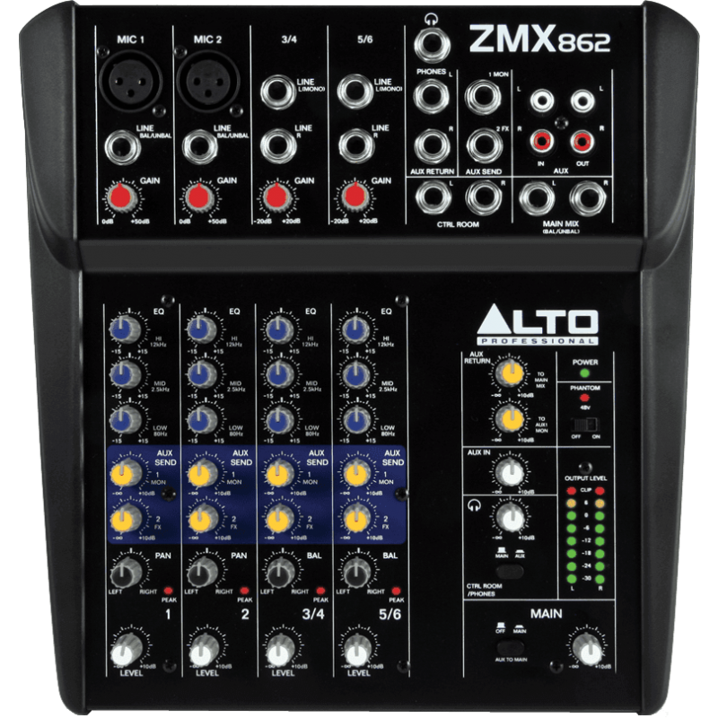 Alto Professional ZMX862 - Compact 6 canaux, 8 entrées