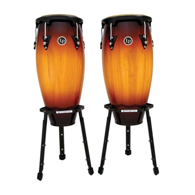 "Latin Percussion LP646B-VSB Congaset 10"" & 11"" - Vintage Sunburst + Stand"